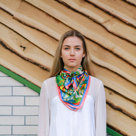 KIKA Iris Eye flowers silk scarf