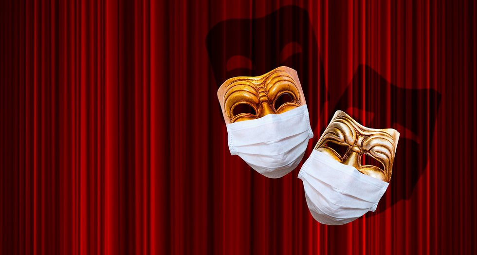 Comedy and tragedy theatrical mask weari