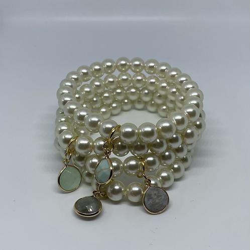 Pearl bracelets w/charms