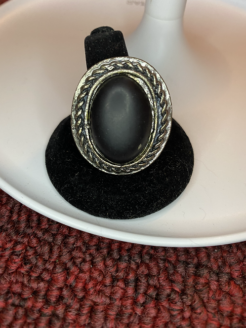 Black and Silver Adjustable Ring