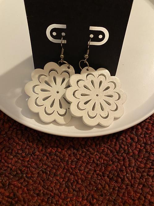 White Wood Flower Earrings