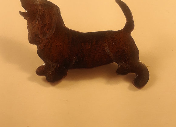 Enamelled Copper Dachshund Pin