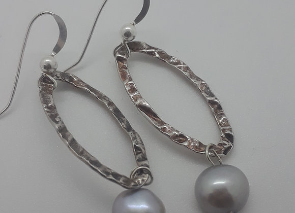Sterling Silver oval and pearl earrings