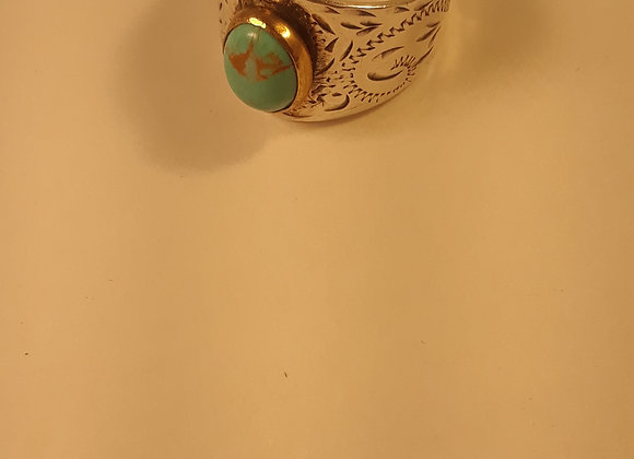 Engraved Sterling Turquoise Ring