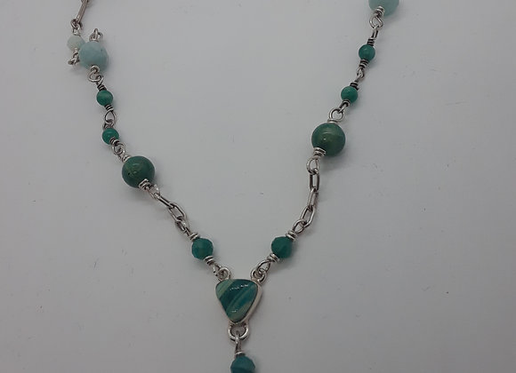 Amazonite Sterling Silver Y Necklace