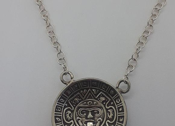 Sterling Silver Pendant Aztec