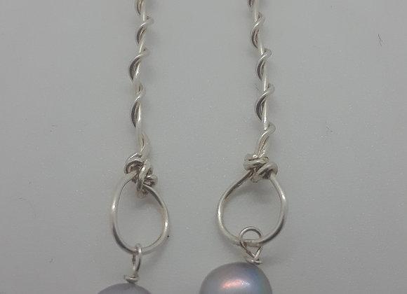 Sterling long wire pearl earrings