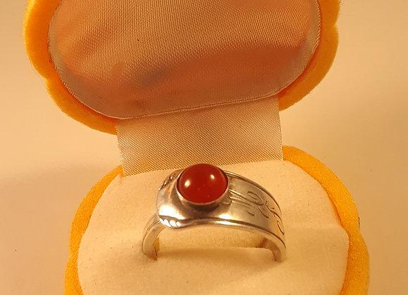 Carnelian Sterling Spoon Ring