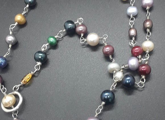Multi-colored Dyed Pearl Necklace