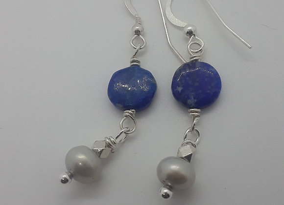 Sterling Silver lapis and pearl earrings
