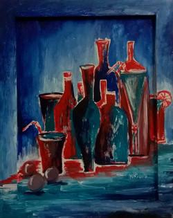 Натюрморт Сине-красный бар 32на42 , фанера, акрил, 2015 (1)