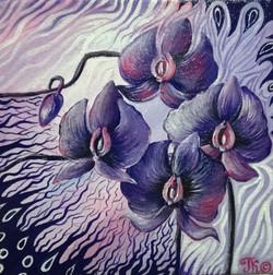 4 орхидеи (20х20см, холст на картоне, акрил)