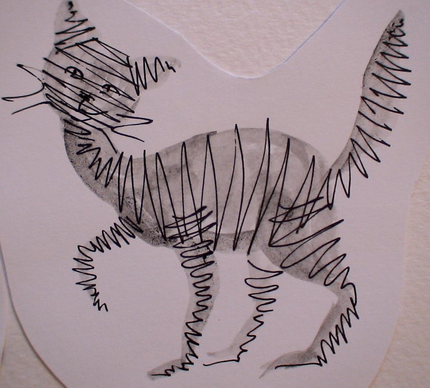 мини кошка (бумага, ручка гел., акварель)