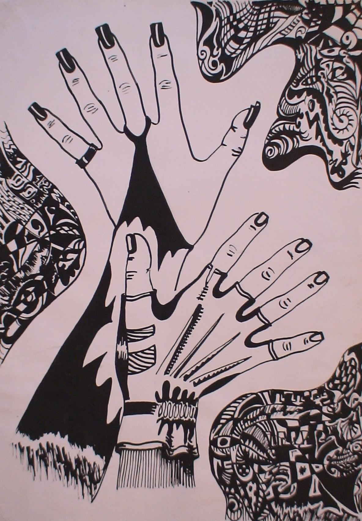 Руки (А3, бумага, гелевая ручка, тушь)