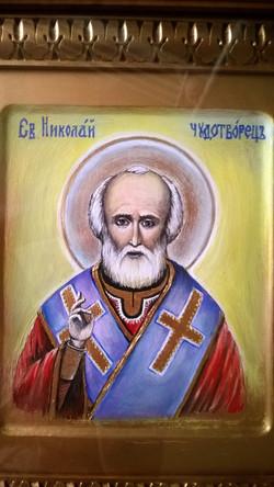 Икона Николай Чудотворец (иконная доска, темпера, 21на25, 11.11 (33)