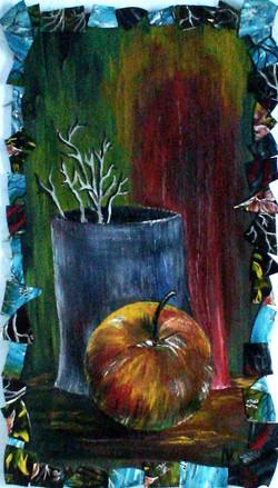 Натюрморт с яблоком (двп, масло)