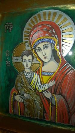 Икона Богородица с младенцем Исусом (доска иконная, левкас, темпера,акрил) А4, 29.01 (19)