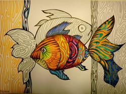 Рыбки (А4, бумага, фломастеры, гелиевая ручка)