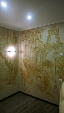 Роспись стен в гостинной Монохромная 2015 акрил (7)