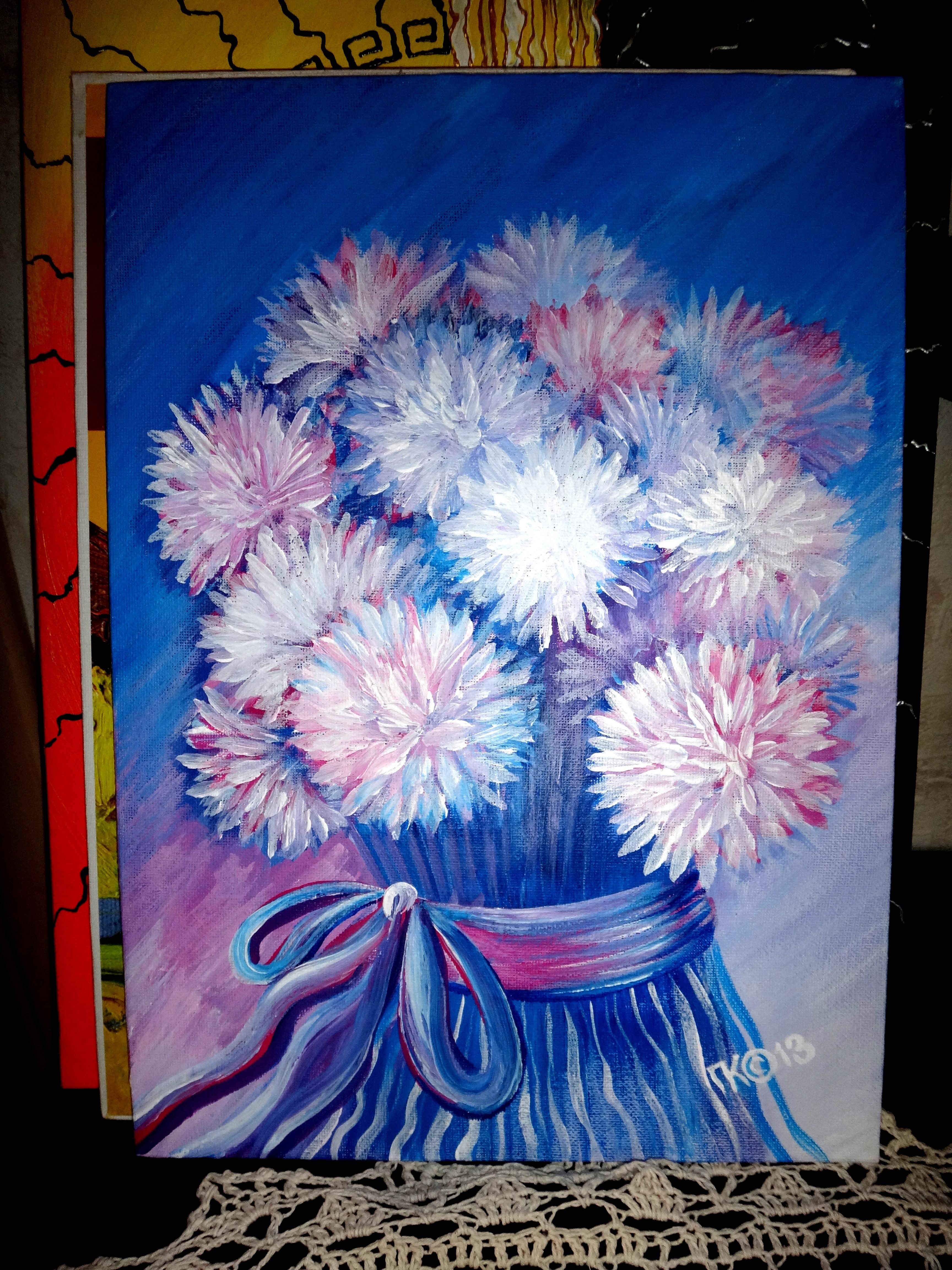 Хризантемы к 8 марта (25х35, холст на картоне, акрил)