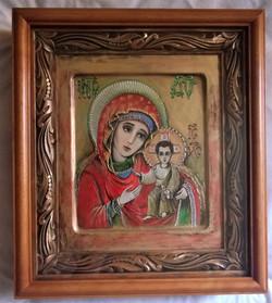 Икона Дв. Мария и Исус (казанская) (А4, иконная доска, левкас, акрил, 07.06 (19)