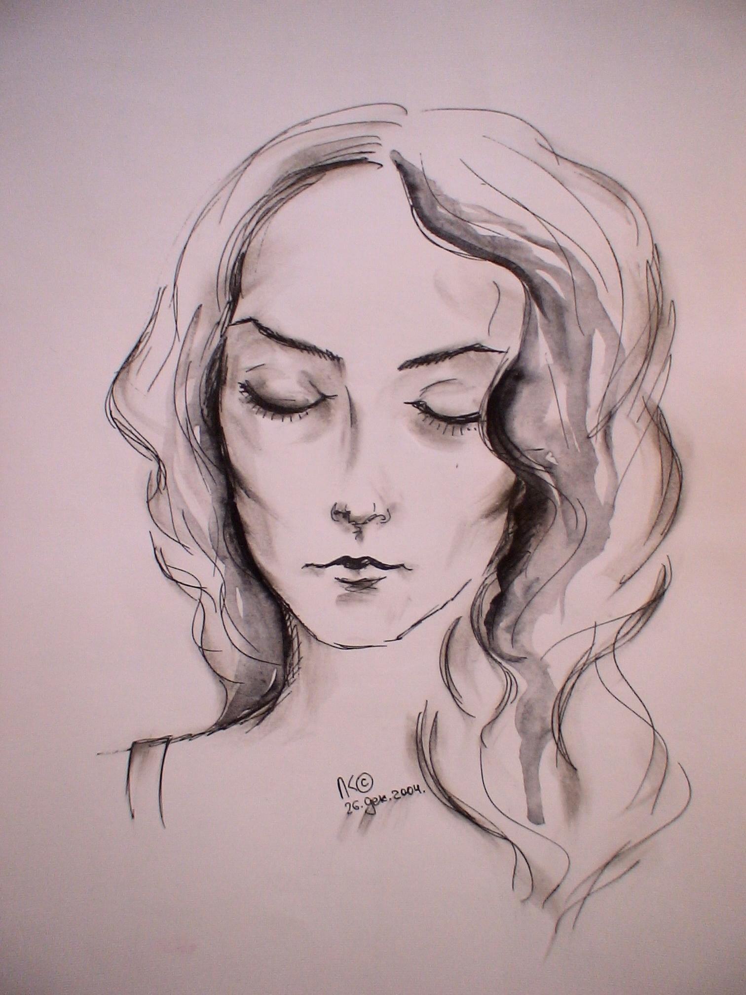 Спящая красавица (А4, бумага, гелевая ручка)