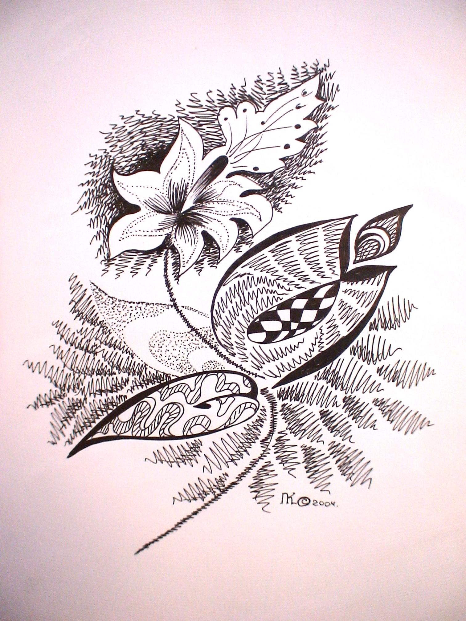 цветочек (бумага, гелевая ручка А4)