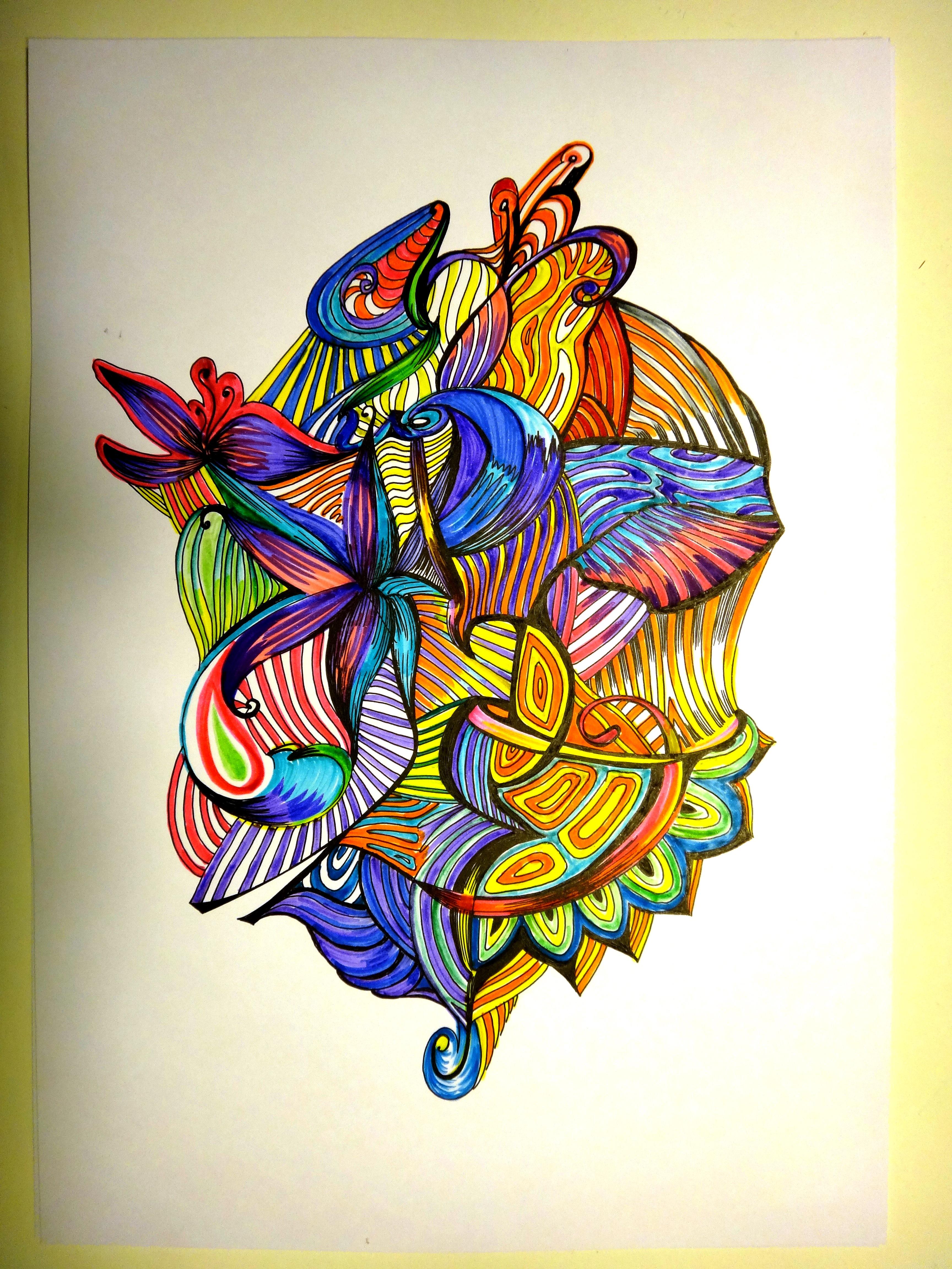 Рисунок (бумага А4,  фломастеры, гелиевая ручка)