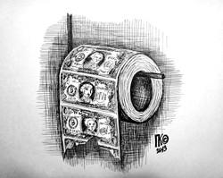 Деньги (бумага А4, гелевая ручка)