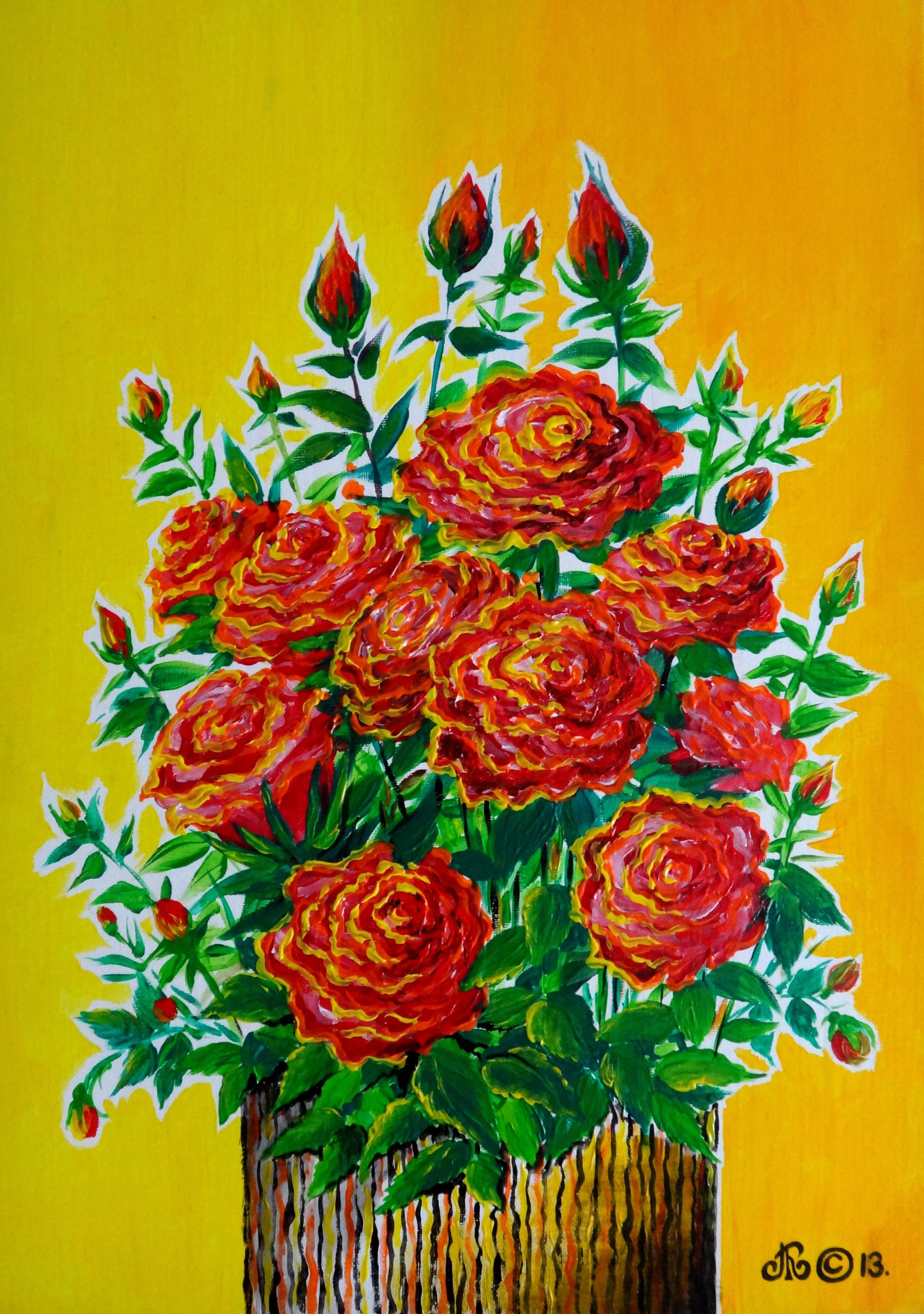 розы на жёлтом , акрил, холст на картоне, 35х50 см.