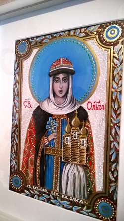 Икона Св. Княжна Ольга (двп, акрил, А4, 16.02 (6)