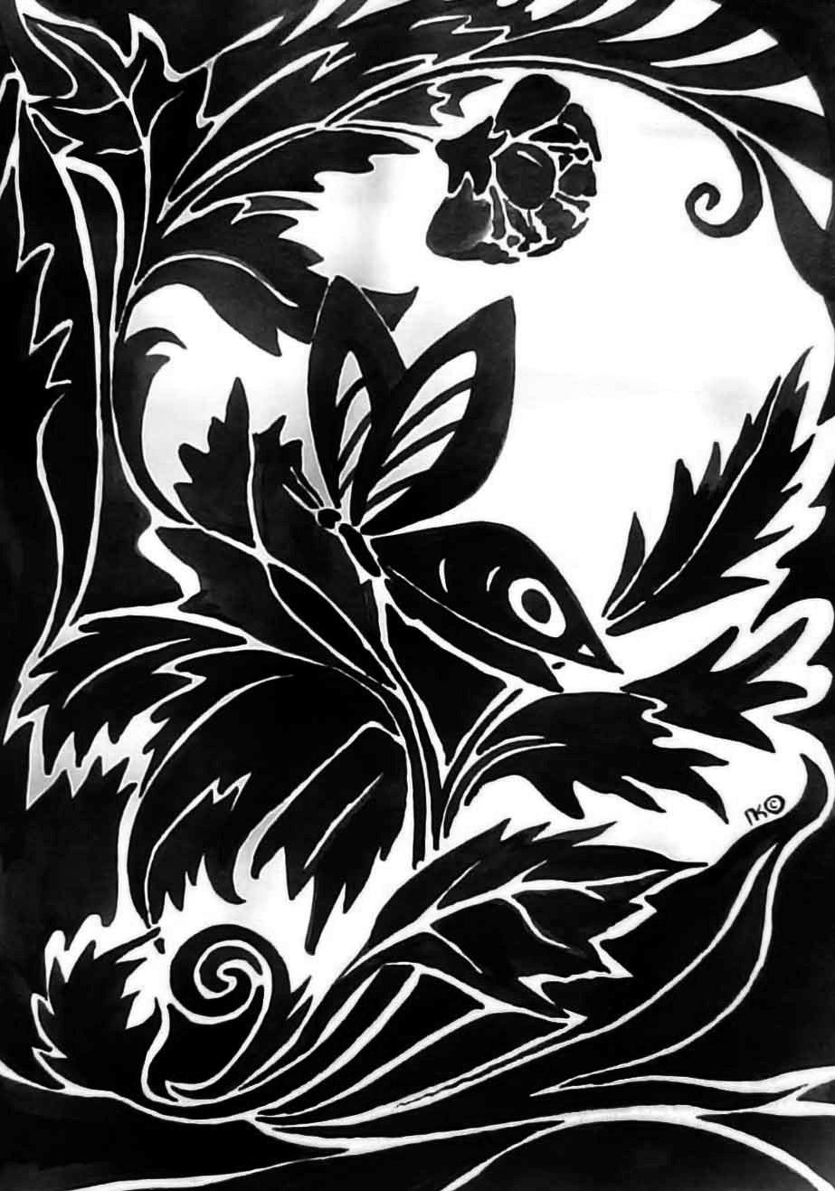 Бабочка (бумага, тушь, А4)