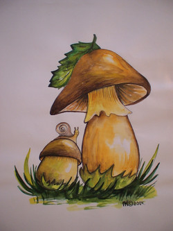 грибы (бумага, акварель)