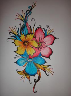 Рисунок - 3 цветка А4, бумага, фломастеры, гелиевая ручка