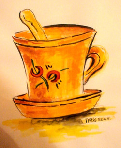 эпизод чашка (триптих, бумага А4, акварель)