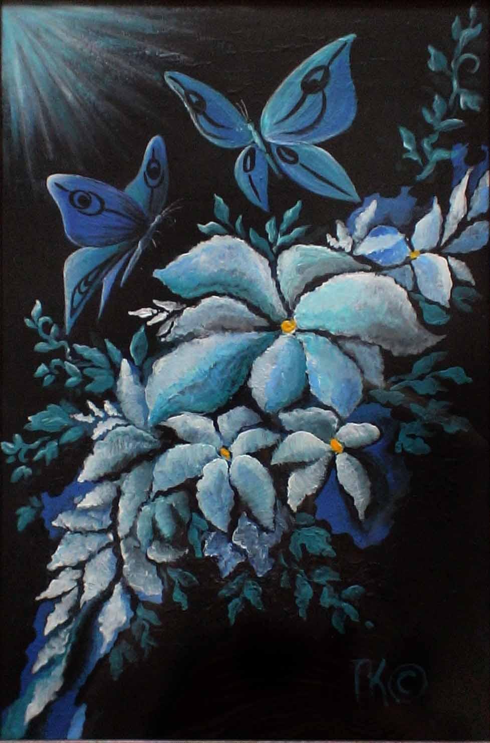 Лунные цветы (двп, акрил, 30х45)