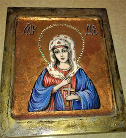 Икона Дева Мария (иконная доска, темпера, паталь, 14.11 (16)
