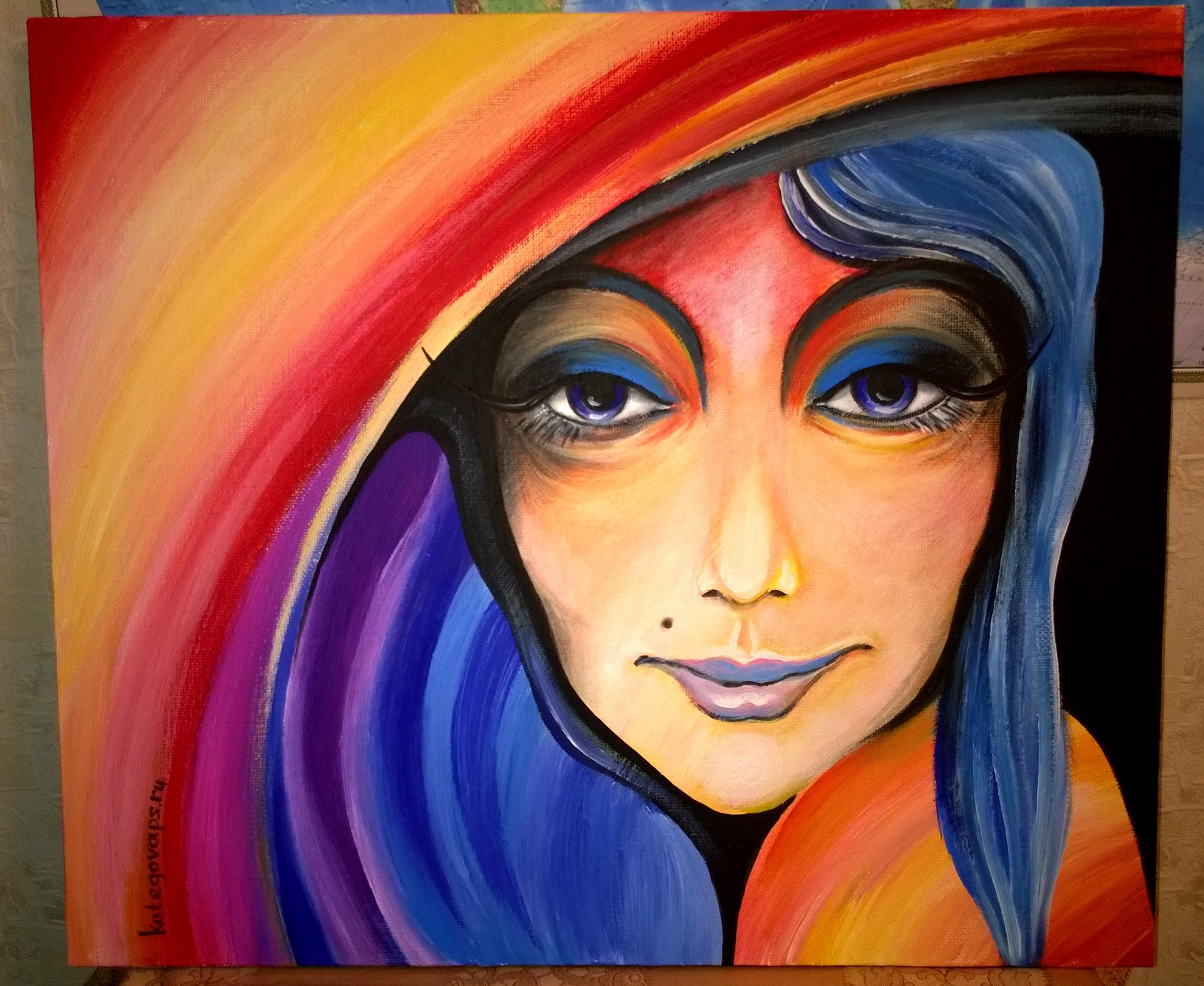 Портрет Девушка в шляпе (холст, акрил, 600х700)