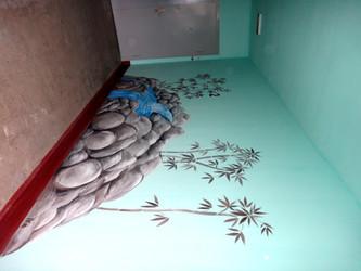 Водопад роспись стен в подъезде (стена, акрил