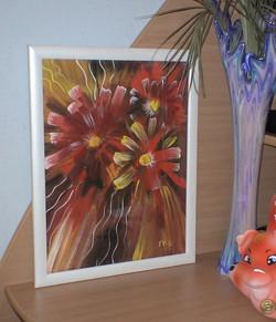 цветы (двп, гуашь)