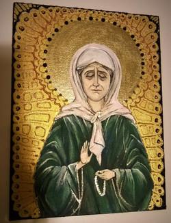 Икона Св. Матрона московская (03.02.2016, холст на картоне, акрил, стразы, А5) (2)