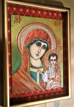 Икона Богородица и младенец Исус (холст на картоне, акрил. 05.02 18на24см(32)