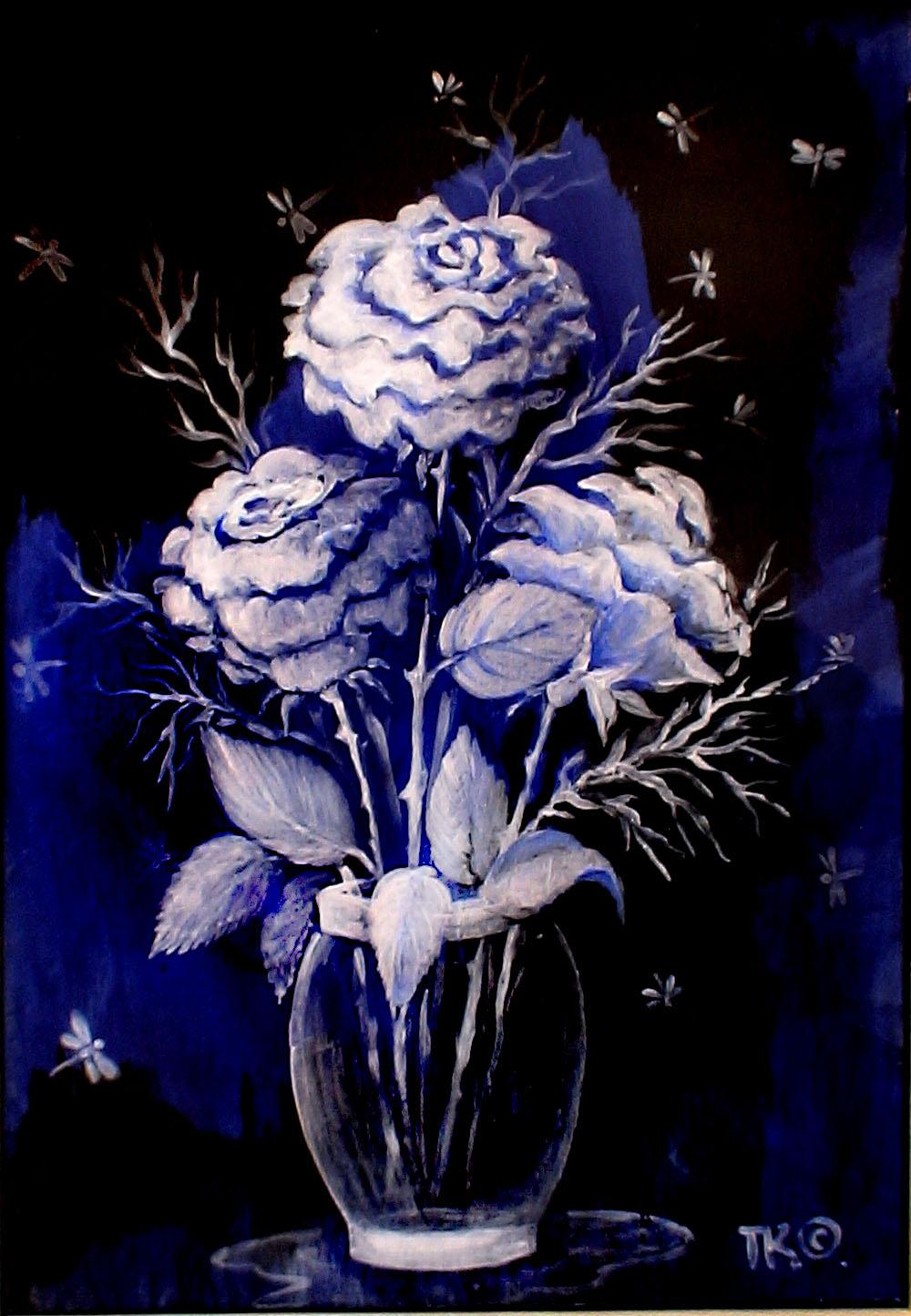Лунные розы (210х300, картон акрил)