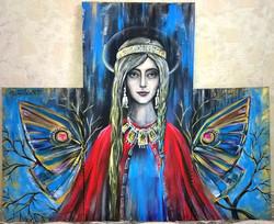 Портрет триптих Ольга (2-30на50,1 -40на80), холст, акрил,2015 (4)