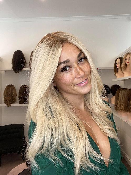 "22"" Premium Remy Human Hair Wig - Platinum Blonde"
