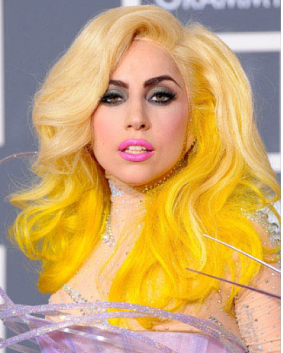 Lady Gaga womens lace front wig in Yellow
