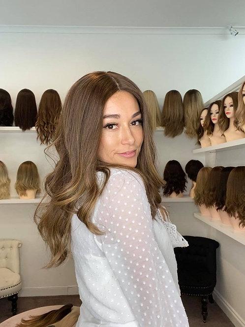 """22"""" Premium Remy Human Hair Wig - Medium Brown Balayage"""