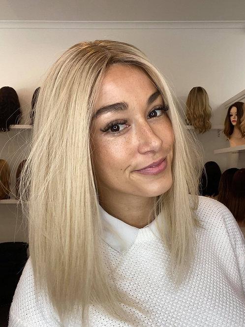 "16"" Ultra Light Density Premium Remy Human Hair Wig - Platinum Blonde"