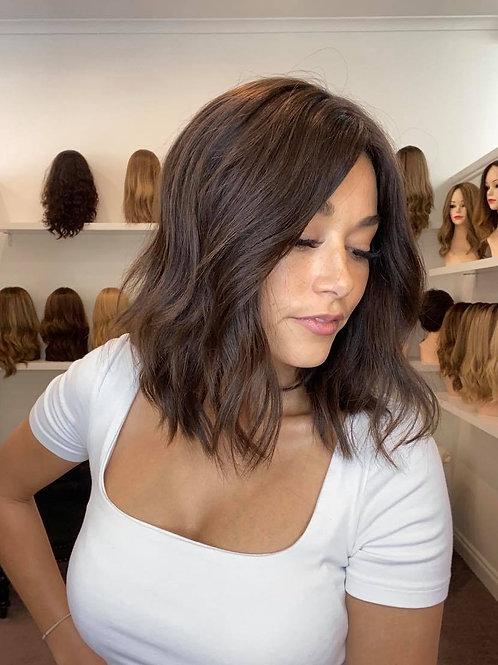 "14"" Luxury European Wig - Dark Brown #4"