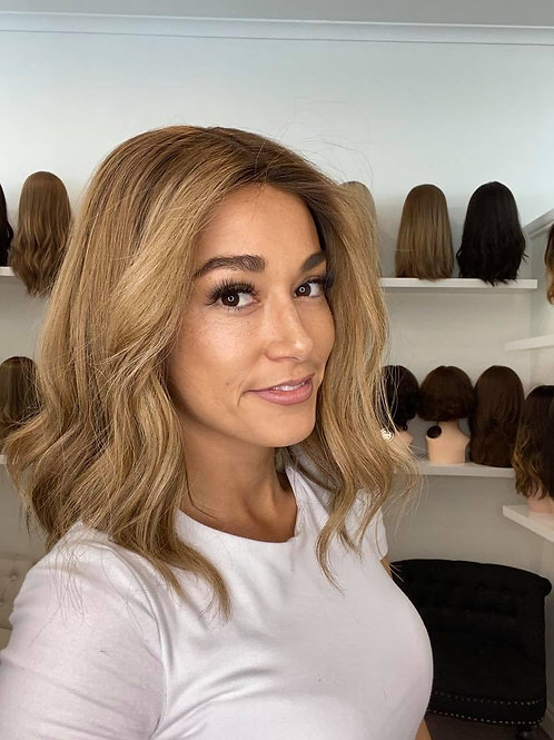 "14"" Premium Remy Wig - Light Density - Medium Blonde w/Roots"